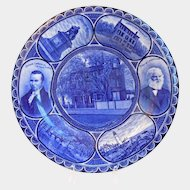 Antique Flow Blue Rowland Marsellus Staffordshire Porcelain Plate of Poet Longfellow
