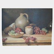 American Oil Painting~ Of Still Life, Grapes & Fruit~ By Listed Massachusetts Artist~ Henry Howard Brooks