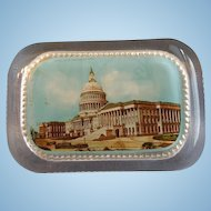 Antique ~ Glass Paperweight~ The  Capital  of  Washington D.C. ~ Souvenir  Art