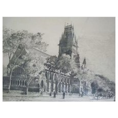 Antique ~ Etching Of Memorial Hall~ Harvard University~ Listed Massachusetts Artist ~ Signed William Goodrich Beal