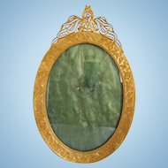 Antique ~ Art Nouveau Oval  Brass Frame