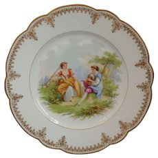 Antique~ French St. Cloud Sevres Porcelain Plate~ Courting Scene~Signed