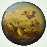 Vintage Russian Lacquer Box~Circular~ Hand Painted Woodland Scene With Birds~ Signed