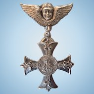 Victorian Sterling Religious Cherub Pin With Cross
