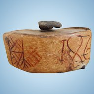 Early Primitive Leather Tobacco Snuff Box With Carvings, Dated 1866