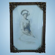 Antique Art Nouveau Brass Frame With Photo of Woman
