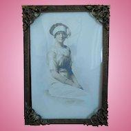 Antique Art Nouveau Brass Frame With Photo of Woman
