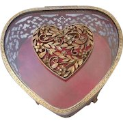 Vintage Filigree Jewelry Trinket or Jewelry Box, Footed, Beveled Glass With Heart