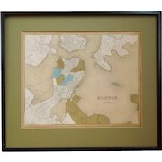 19th Century Hand Colored Engraving, Map Of Boston, By G.W. Boyton