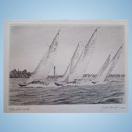 Vintage Etching of Harbor Scene With Schooner Yacht Race, Marblehead Massachusetts, Artist Signed, Charles J.A. Wilson