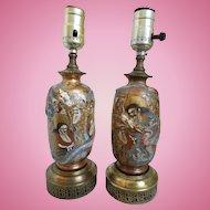 Pair of 19th Century Japanese Satsuma Meiji Lamps, Dragon, Meiji Period (1868-1912)