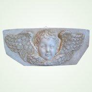 Vintage Cherub, Putti, Angel Chalkware Wall Plaque