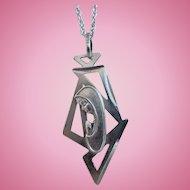 Art Deco 800 Silver Madonna Necklace
