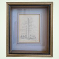 Pencil Drawing Of Bunker Hill Monument, Charlestown, Massachusetts, Artist Signed E.D. Chase, Circa 1930