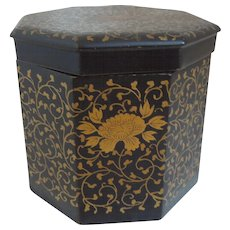 Antique Japanese Lacquer Box With Gold Flowers