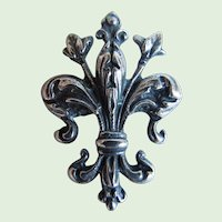 Vintage Sterling Cini Fleur De Lis Brooch, Pin, Florentine Design, Boston