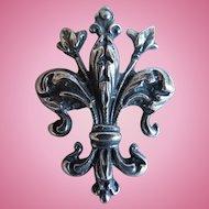 Vintage Sterling Cini Fleur De Lis Brooch, Pin, Florentine Design, Boston