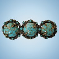Vintage French Faux Turquoise Brooch/Pin, 1930's