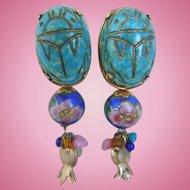 Vintage Enamel GAS Bijoux St. Tropez Clip Dangle Earrings, Egyptian Scarab Motif, Signed, 1980's