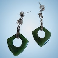 Vintage Art Deco Style Sterling Nephrite Jade Drop Earrings, Asian Script