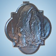 Vintage Religious Virgin Mary Lourdes Medal, Signed