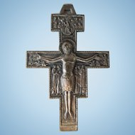 Vintage Religious Crucifix Medal Or Pendant, Byzantine Design, Assisi