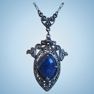 Art Deco Sterling Pendant Necklace With Lapis Lazuli Stone And Marcasites