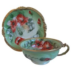19th Century Limoges Porcelain Cup, Saucer, Hand Painted Poppies, Mavaleix, Coronet, Artist, Signed Barbol