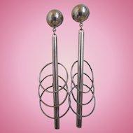 Vintage Long Sterling Modernist, Avant Garde, Earrings, Signed TH