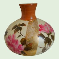 19th Century, A. Stellmacher, Turn Teplitz, Aesthetic Movement, Hand Painted, Porcelain Vase With Flowers