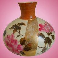 19th Century Art Nouveau, A. Stellmacher, Turn Teplitz, Aesthetic Movement, Hand Painted, Porcelain Vase With Flowers