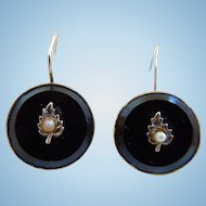 19th Century Victorian Black Onyx Pierced Earrings, Circa 1870's, 1880's
