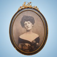 Antique Framed Photograph Of A Beautiful Lady With A Rose