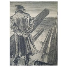 """Lithograph entitled , Making Sailors: """"The Lookout"""" By Artist Frank Brangwyn, England, Circa 1917"""