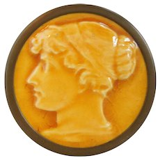 19th Century Portrait Stove Tile Brass Trinket Box, Neo-Classical, By J.G. & J. Low Art Tile Co. Chelsea, Mass. Circa 1880's