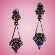 Vintage Sterling Silver  Amethyst Peridot Citrine Pierced Earrings, India