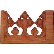 Vintage Hand Carved Religious Gothic, Fleur De Lis, Wood Architectural Element, Circa 1930's