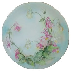 Limoges Jean Pouyat Porcelain Hand Painted Plate With Floral Motif, Artist Signed, Circa 1903