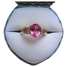 Vintage Pink Tourmaline And Diamond Ring 10K Gold