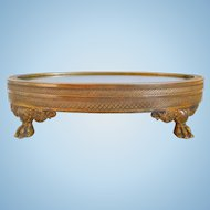 19th Century French Bronze Dore Vanity Perfume Footed Mirror Tray