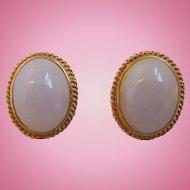 Vintage Natural Lavender Jadeite Jade Earrings, Pierced, 14K Gold