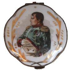 Antique Limoges Porcelain Trinket Box With Napoleon Bonaparte Portrait, Circa 1900