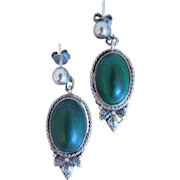 Vintage Italian Peruzzi Sterling Silver And Malachite Pierced Earrings, Signed F. Peruzzi