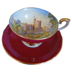 Aynsley China Windsor Castle Burgundy Hand Painted Pedestal Cup And Saucer, Gold Trim, Artist Signed, D. Jones, Circa 1920-1939, Scarce