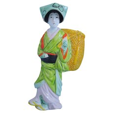 Vintage Japanese Banko Hand Painted Woman With A Basket, Figural Wall Pocket Vase, Circa 1920's, 1930's, Artist Signed