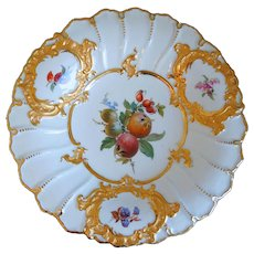 Antique 19th Century Meissen Hand Painted Porcelain Bowl, Gold Gilt