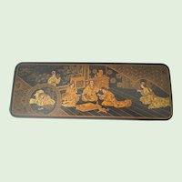 Japanese Lacquer Box With Geishas Temple, 1890's, 1900's
