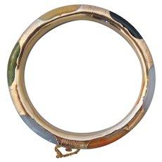 Vintage Multi Color Jadeite Jade Bangle Bracelet Etched Hinged 14K