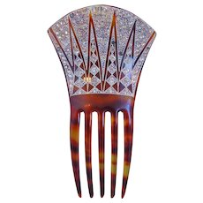 Art Deco Faux Tortoiseshell Hair Comb Accessory WIth Rhinestones