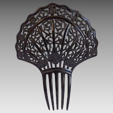 Victorian Mourning Black Celluloid Hair Comb, Spanish Style, Hair Ornament
